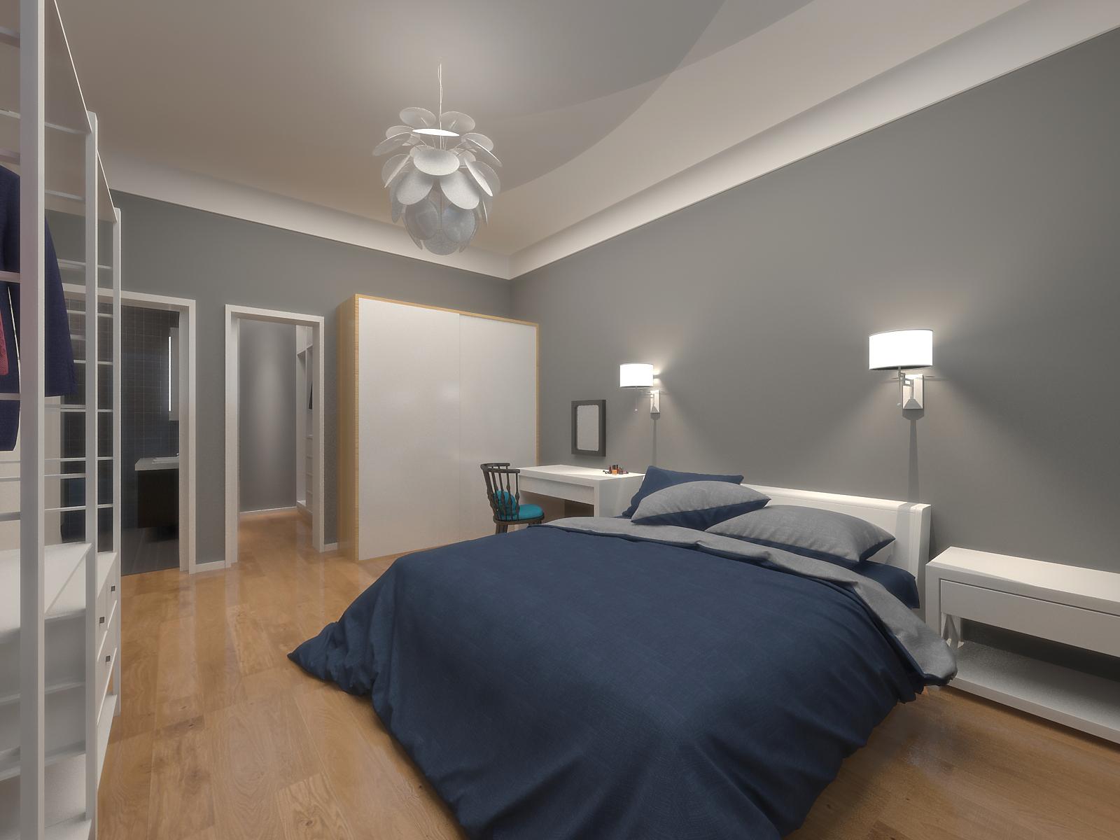 110㎡简约三居床头背景墙装修效果图