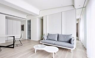 白色极简风公寓客厅装修效果图
