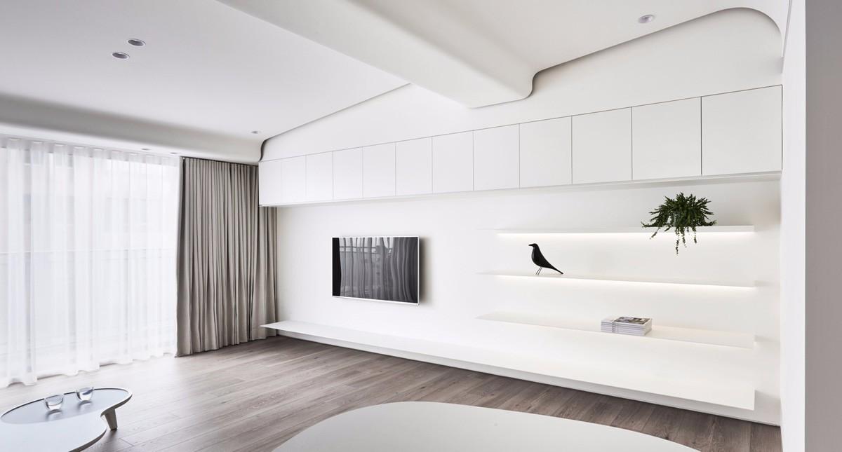 白色极简风公寓电视背景墙装修效果图