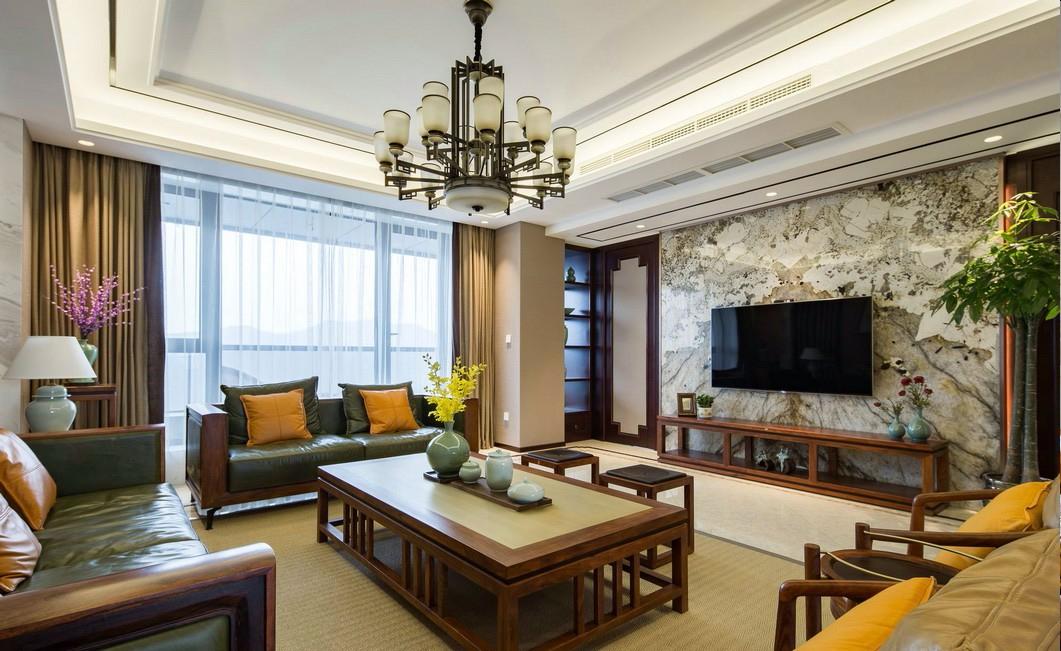 大户型新中式风格客厅装修设计图