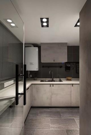 现代灰色调厨房装修效果图