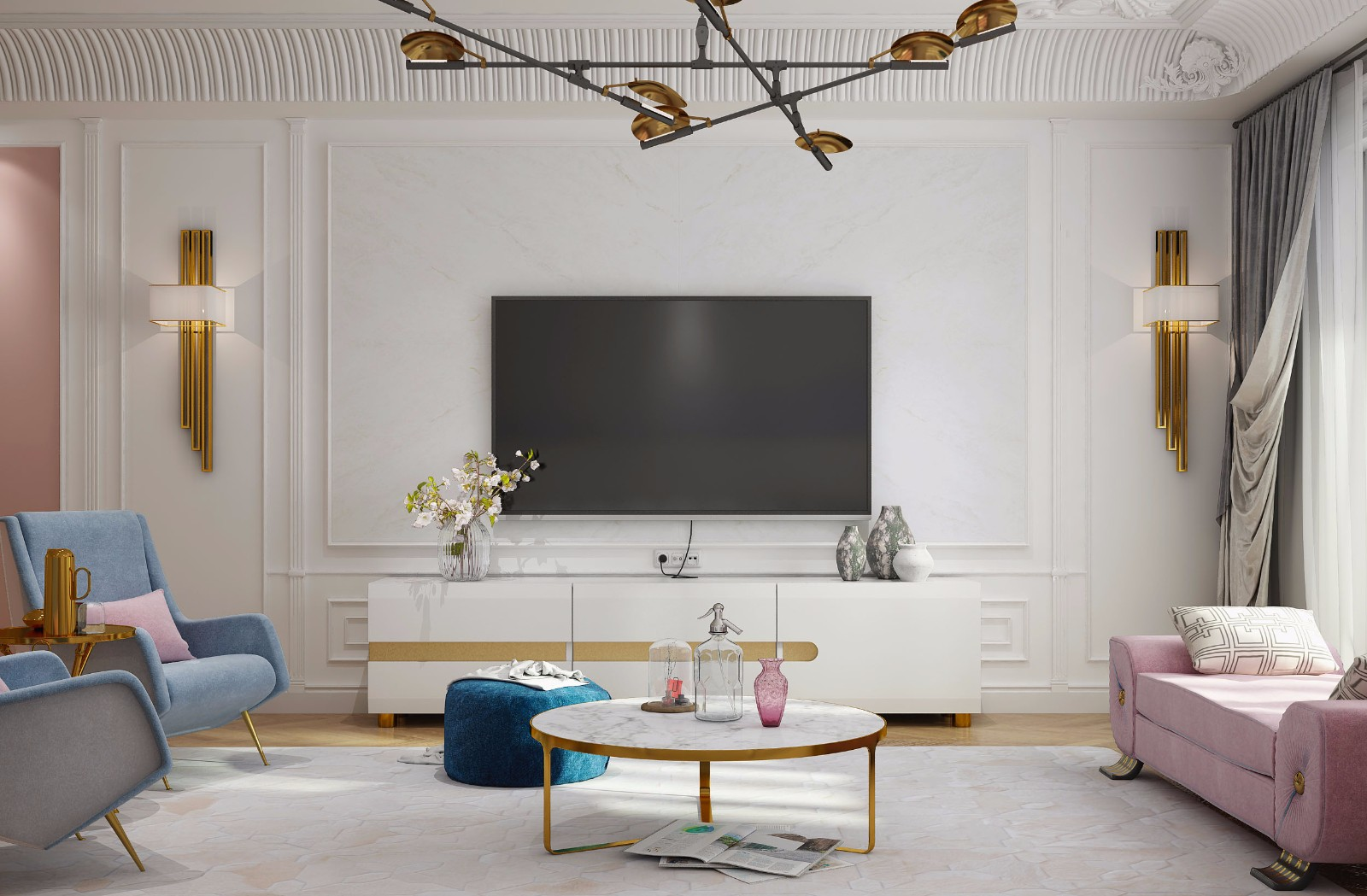 法式风格白色电视背景墙装修效果图