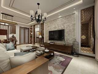 中式风格两居室电视背景墙装修效果图