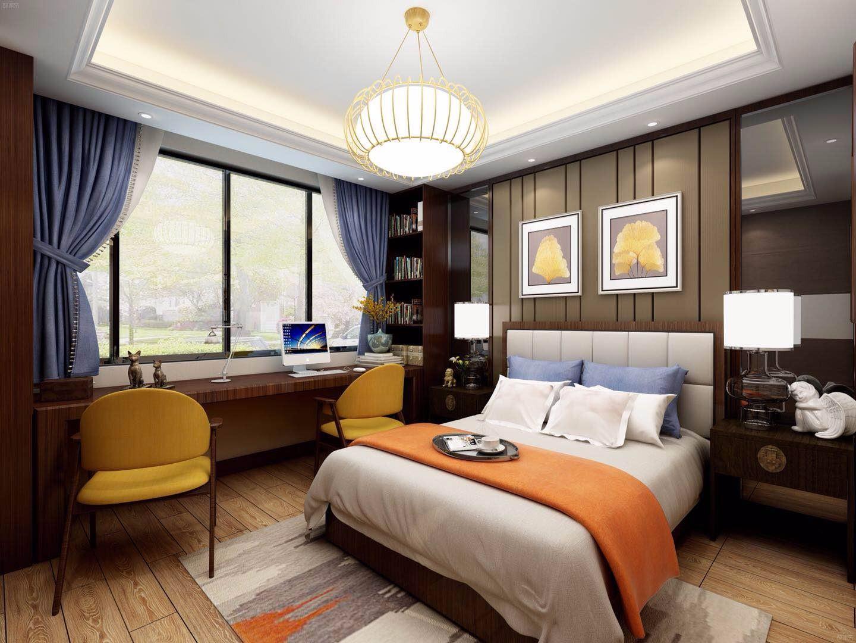 新中式风格公寓卧室装修效果图