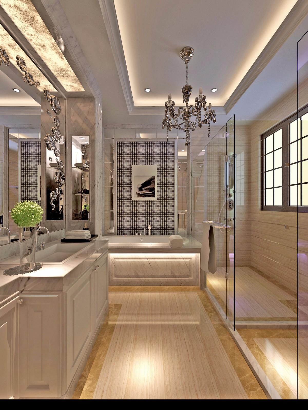 现代欧式风别墅卫生间装修效果图