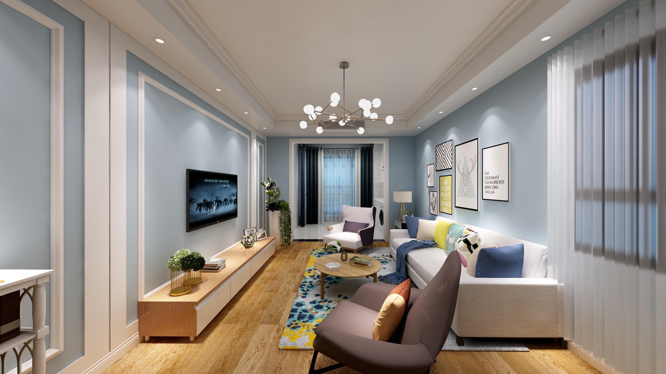 简美风格蓝色客厅装修效果图