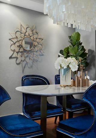 三居室美式风格装修餐桌椅设计图