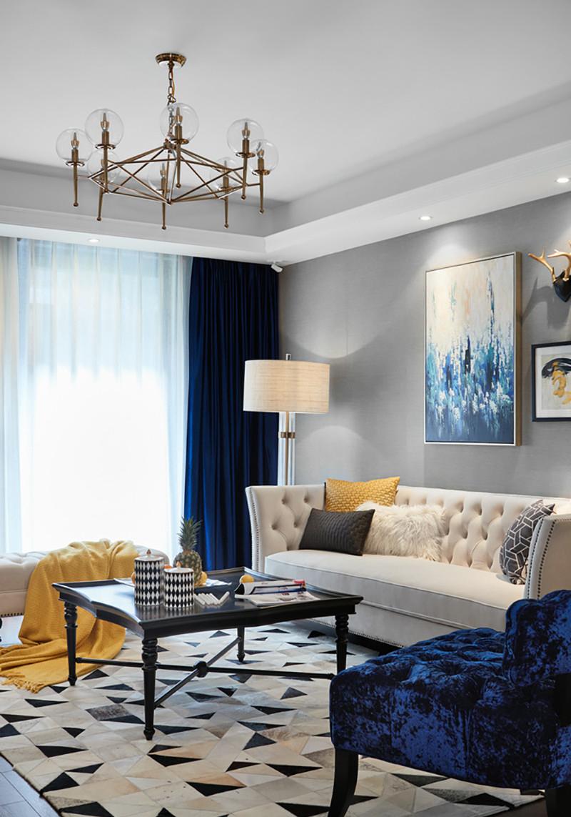 三居室美式风格装修茶几设计图