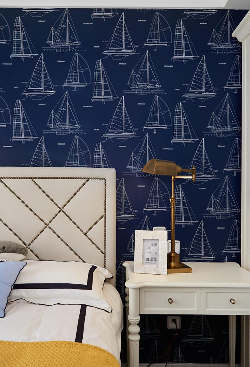 三居室美式风格床头背景墙装修效果图