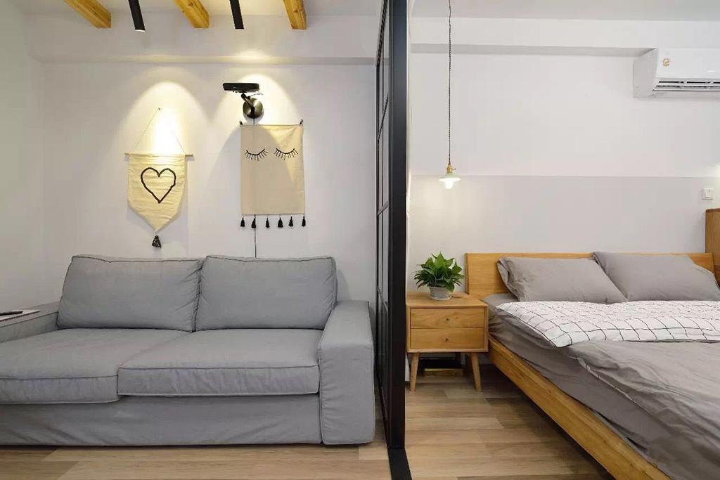 小户型两居室装修移门隔断效果图