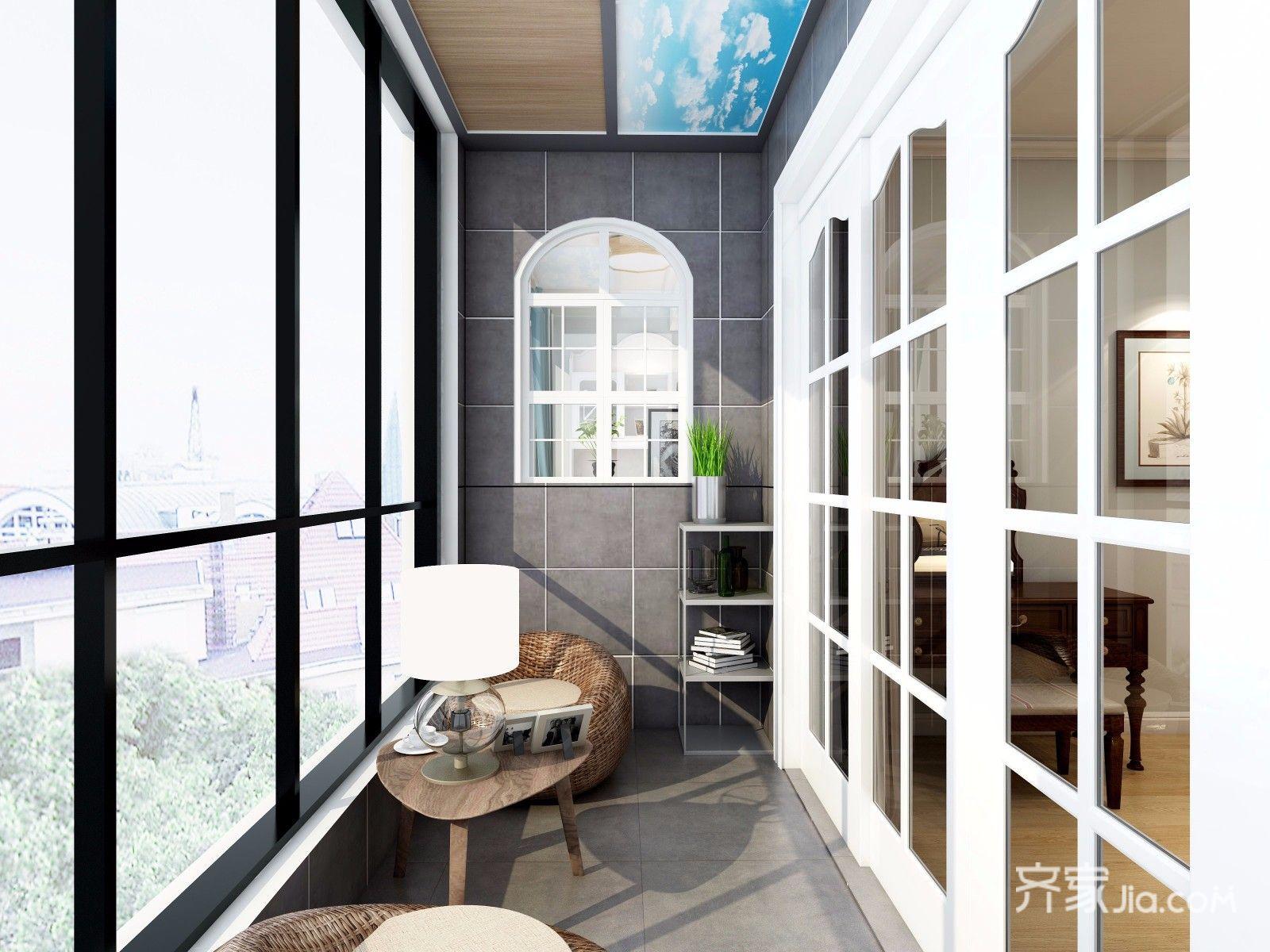 140平美式三居室阳台装修效果图