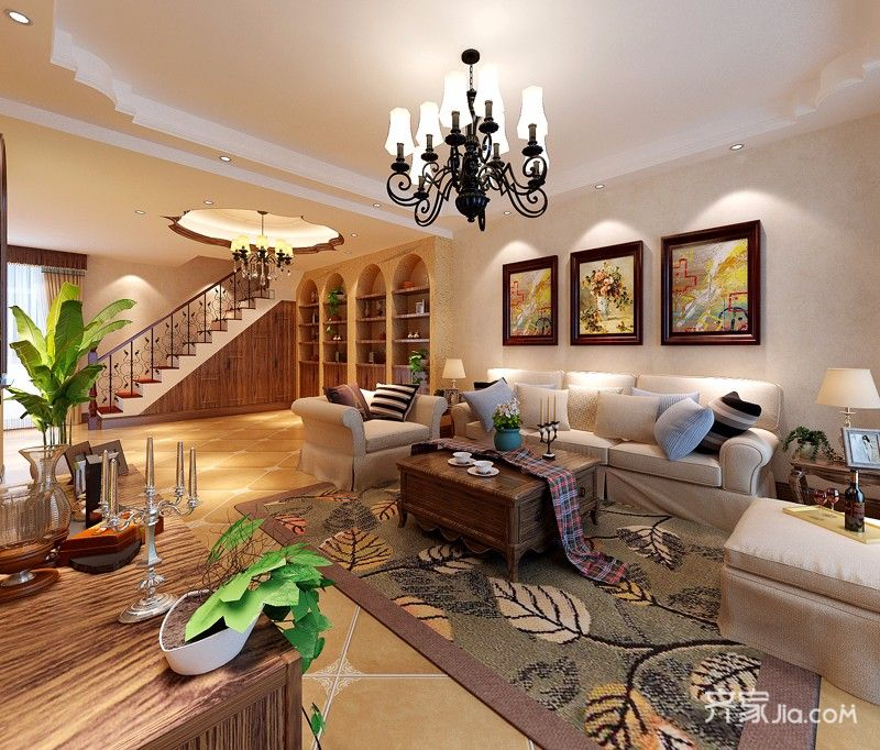 大户型美式田园风格起居室装修效果图