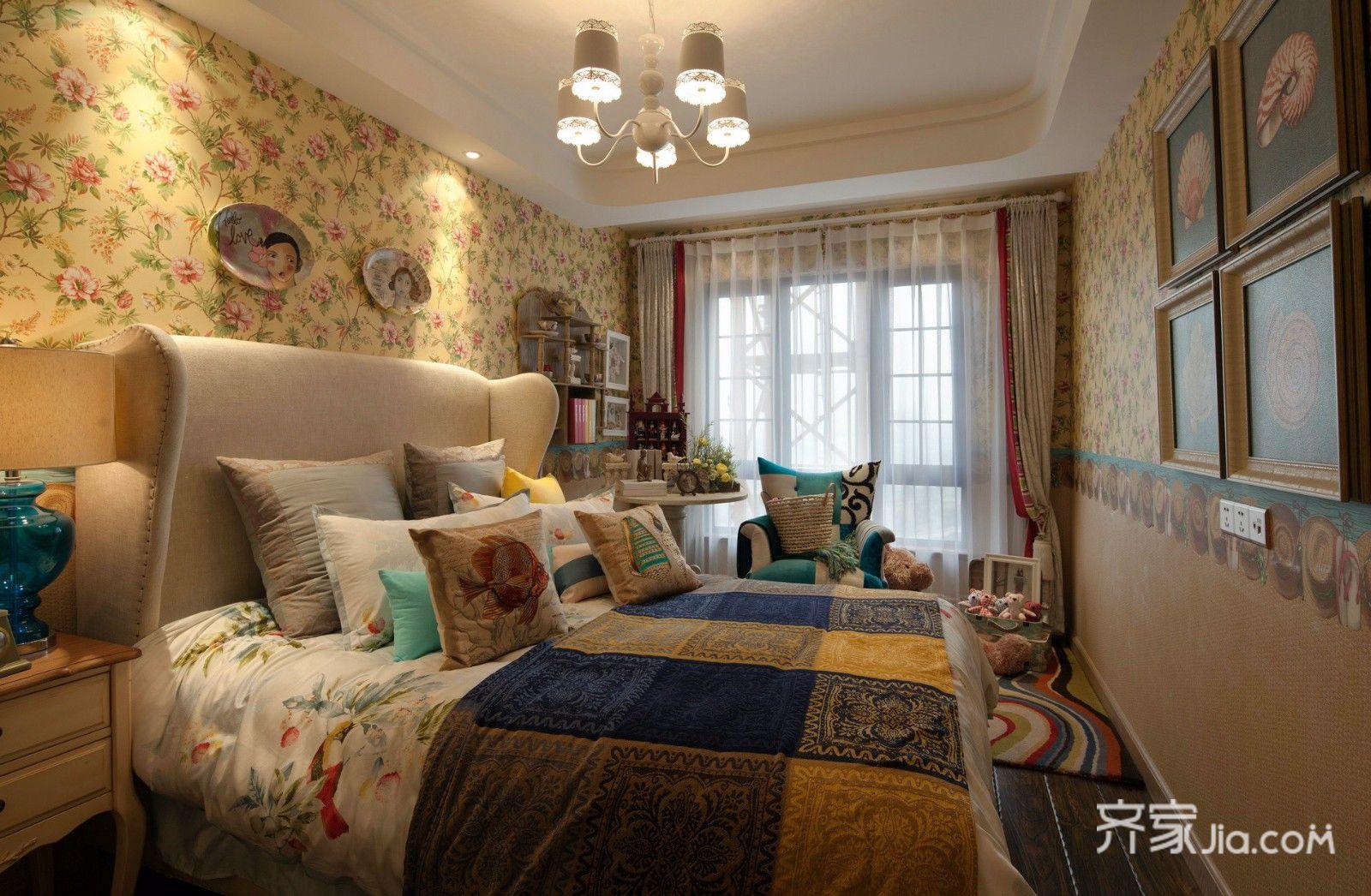 115㎡东南亚风格卧室装修效果图
