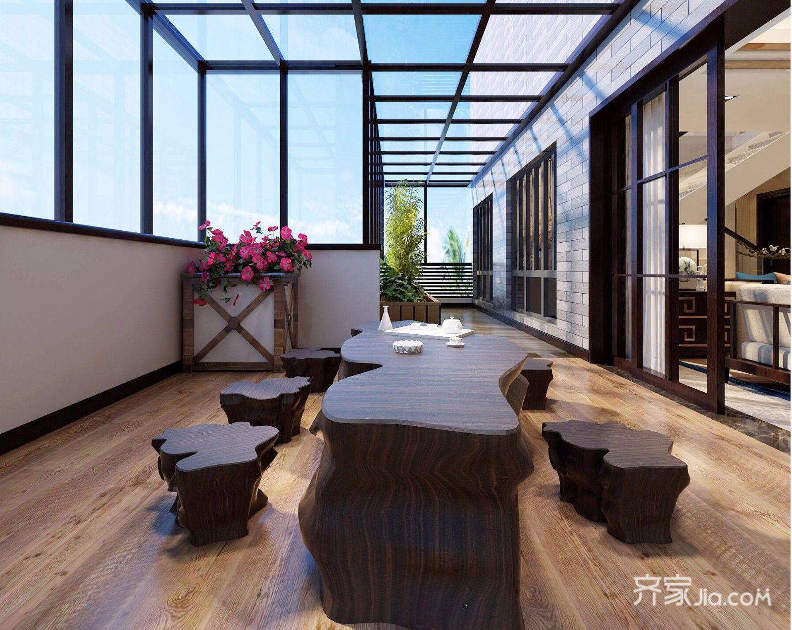 新中式阳台装修效果图