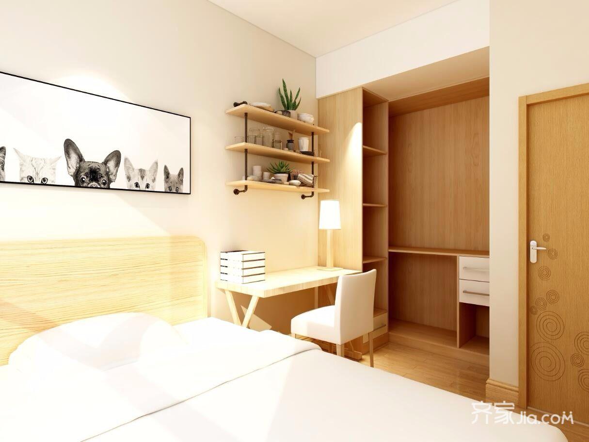 日式风格三居卧室衣帽间装修效果图