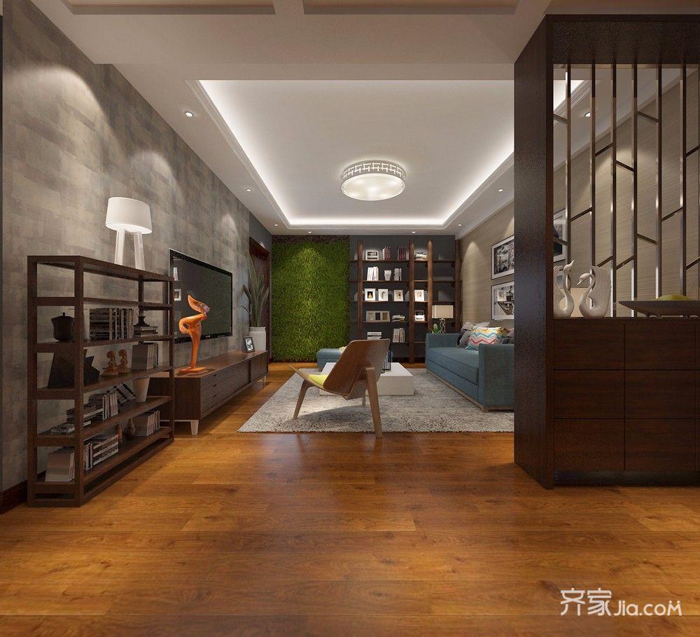 100平现代简约风格客厅走道装修效果图