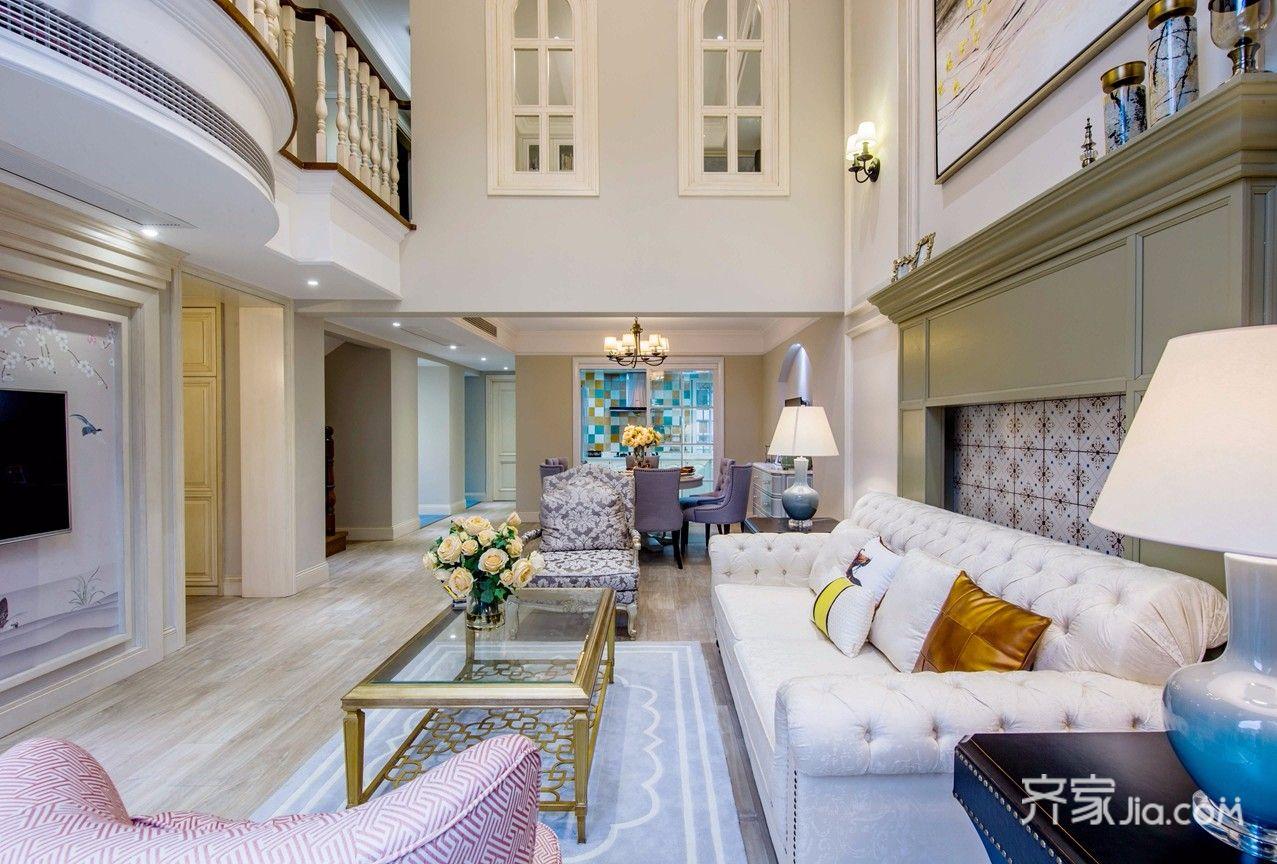 大户型复式美式客厅装修效果图