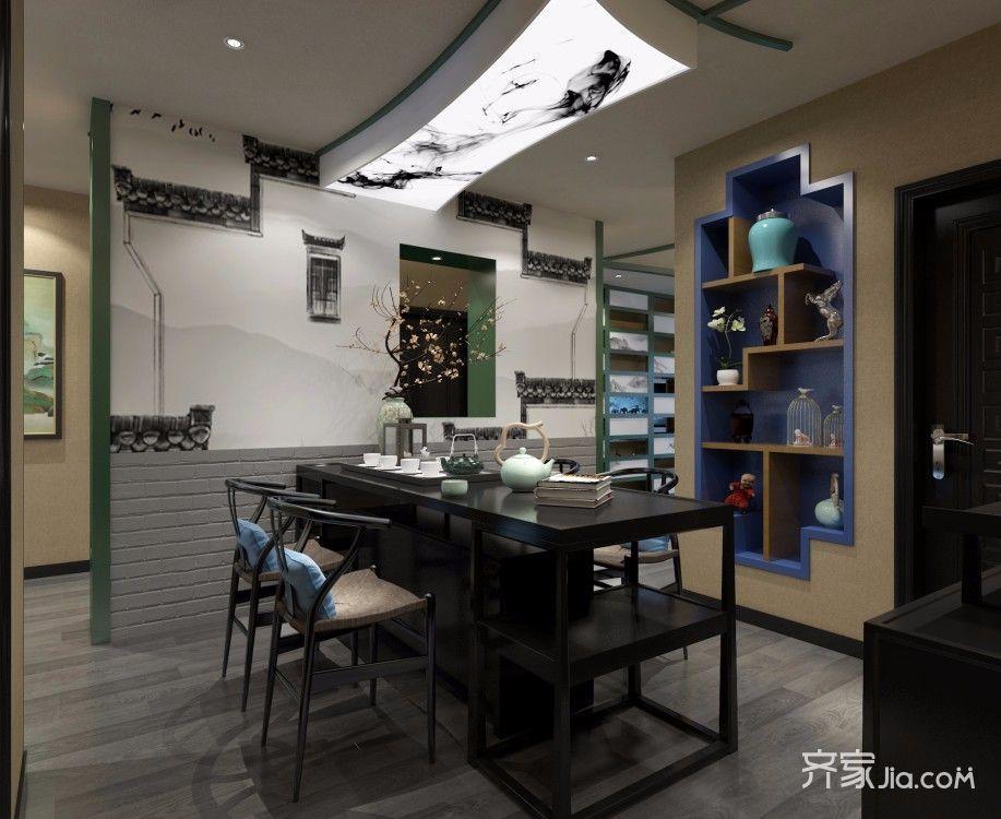 120平三居新中式茶室装修效果图