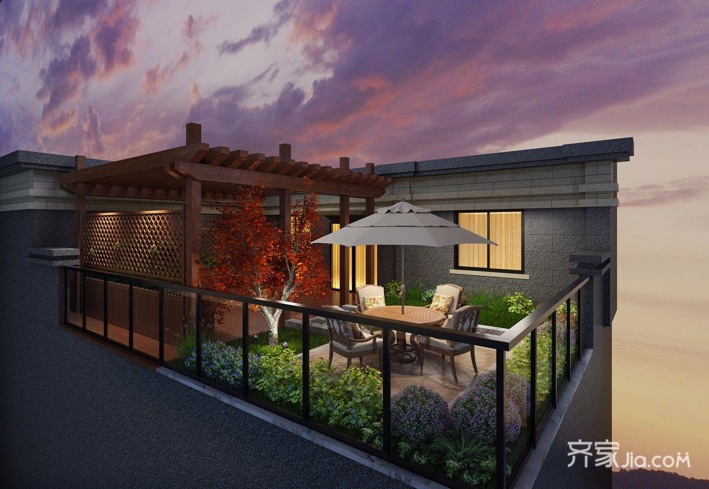 中式风格大户型别墅露台装修效果图