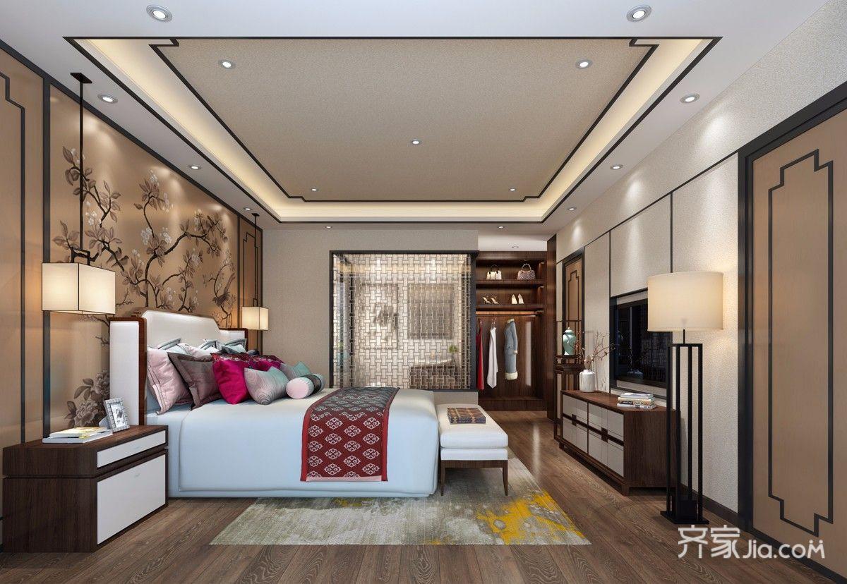 中式风格大户型别墅卧室装修效果图