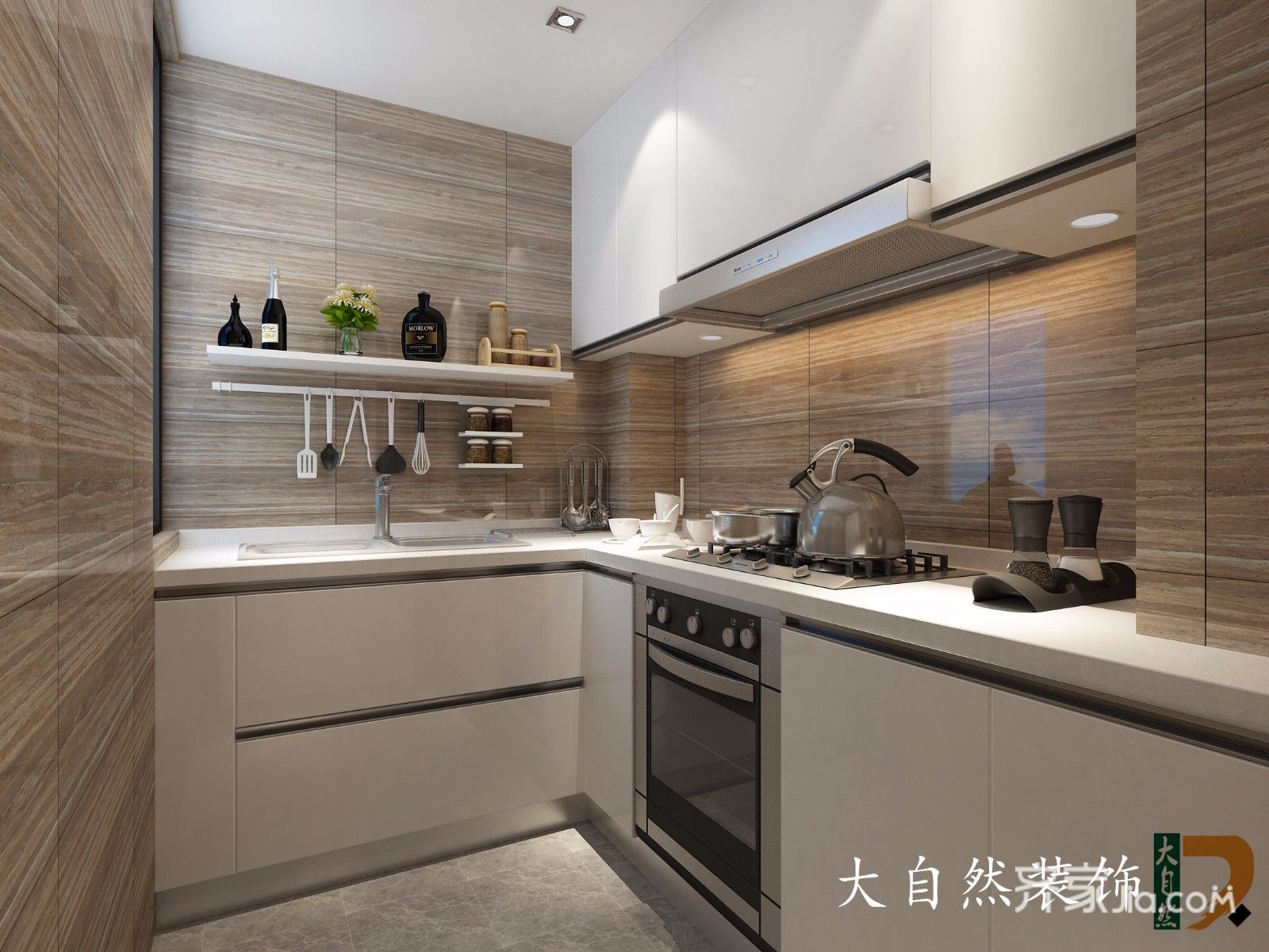 90㎡现代简约风格厨房装修效果图