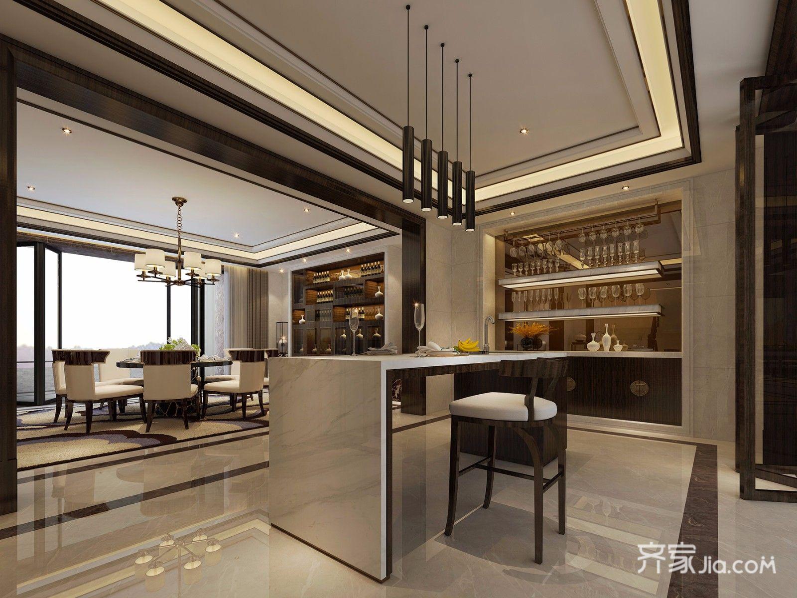 中式风格别墅吧台设计效果图