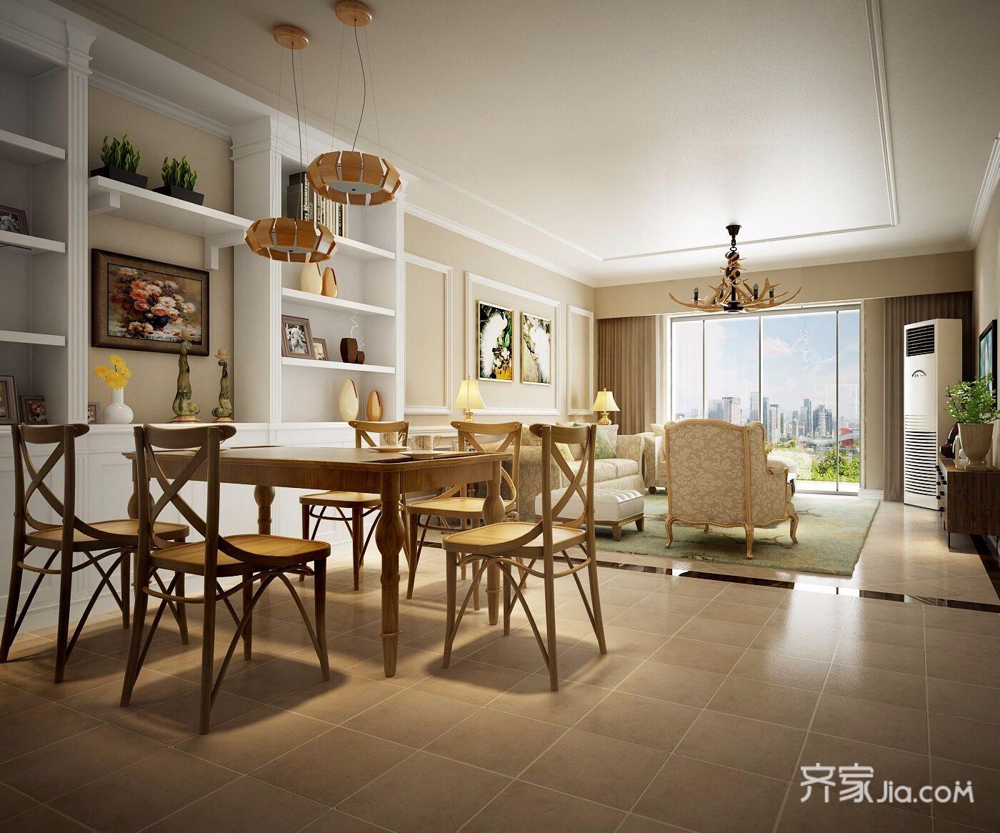 温馨美式三居餐厅装修效果图