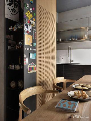 130平现代工业风餐厅背景墙装修效果图