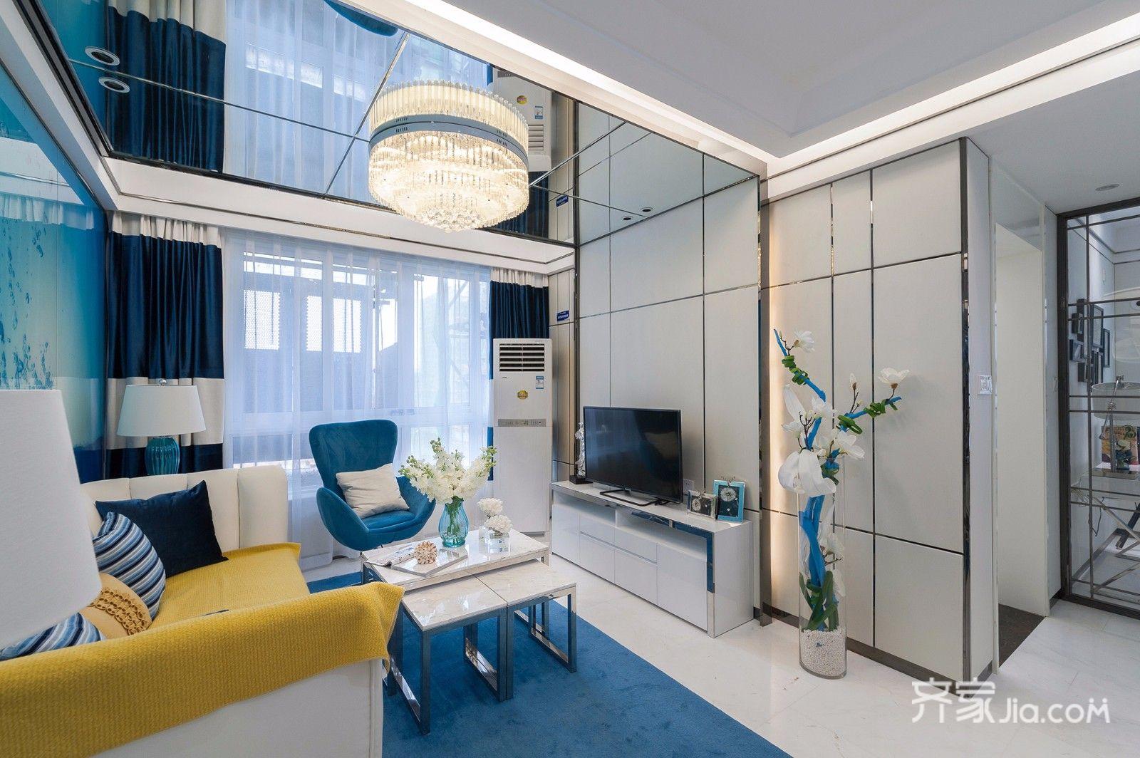 后现代风格两居室客厅装修效果图