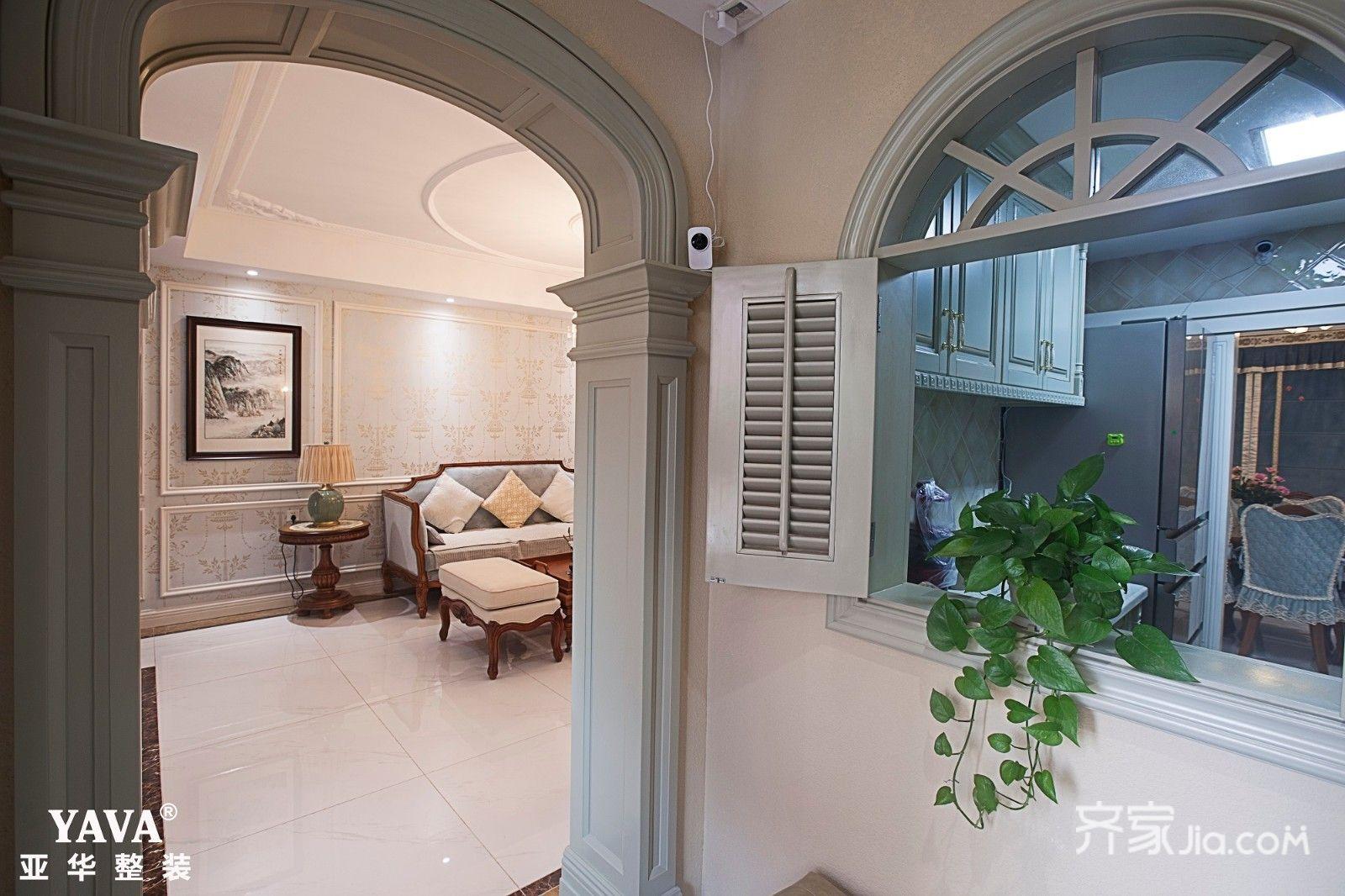 108平欧式三居装修拱形门窗效果图