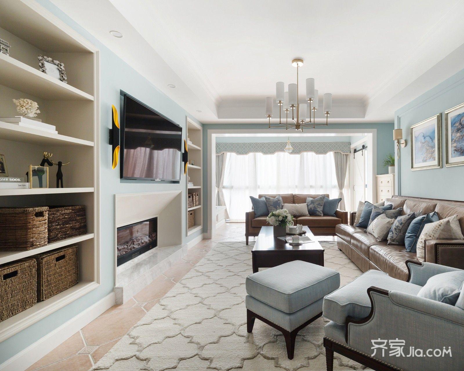 150平现代美式风格客厅装修效果图