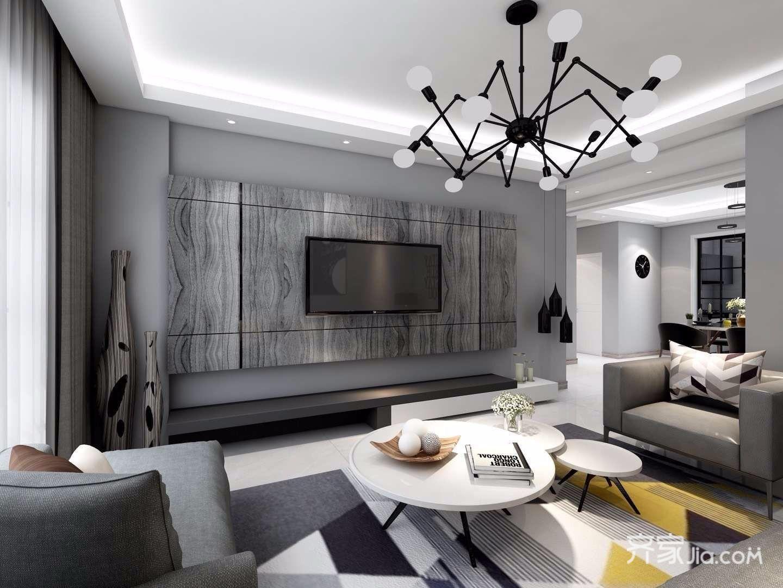 黑白灰现代混搭风格电视背景墙装修效果图