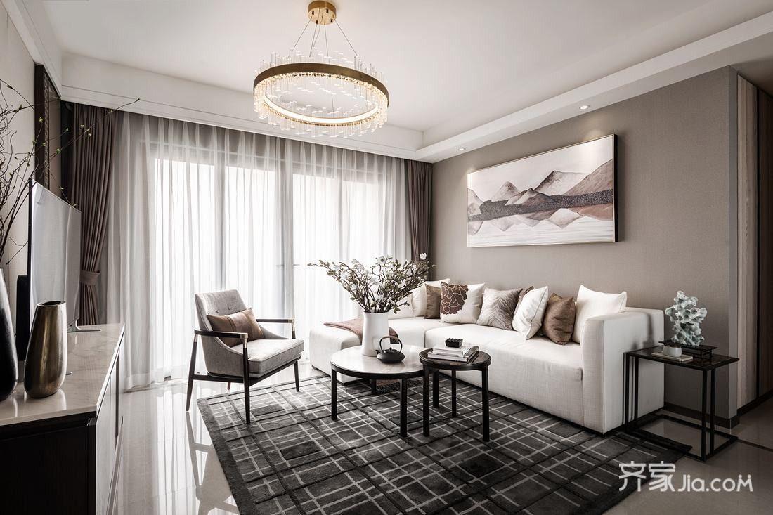 现代中式风格三居客厅装修设计图