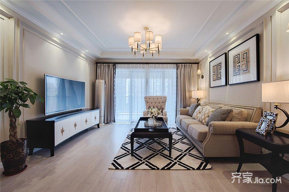 125平美式风格三居客厅装修效果图