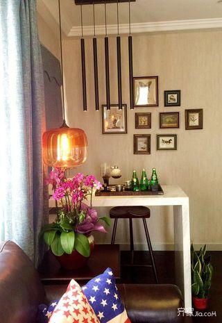 90㎡美式风格二居装修吧台设计图