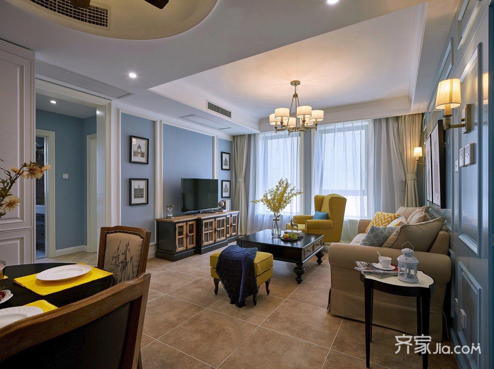 美式混搭两居室装修效果图