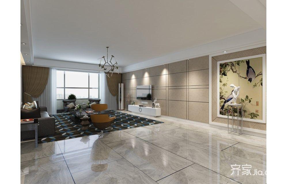 混搭风格四居室电视背景墙装修效果图