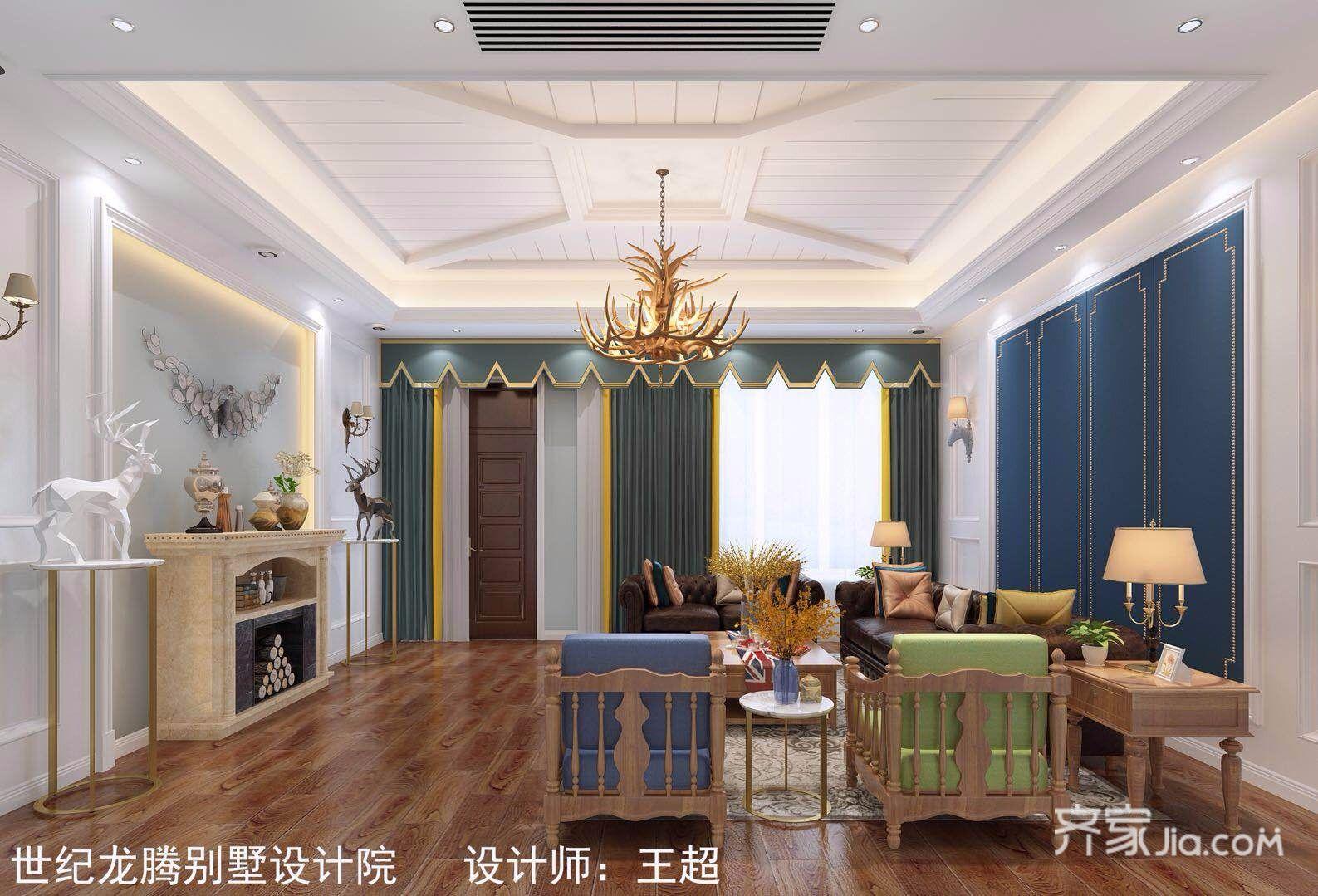 大户型现代美式别墅客厅装修效果图