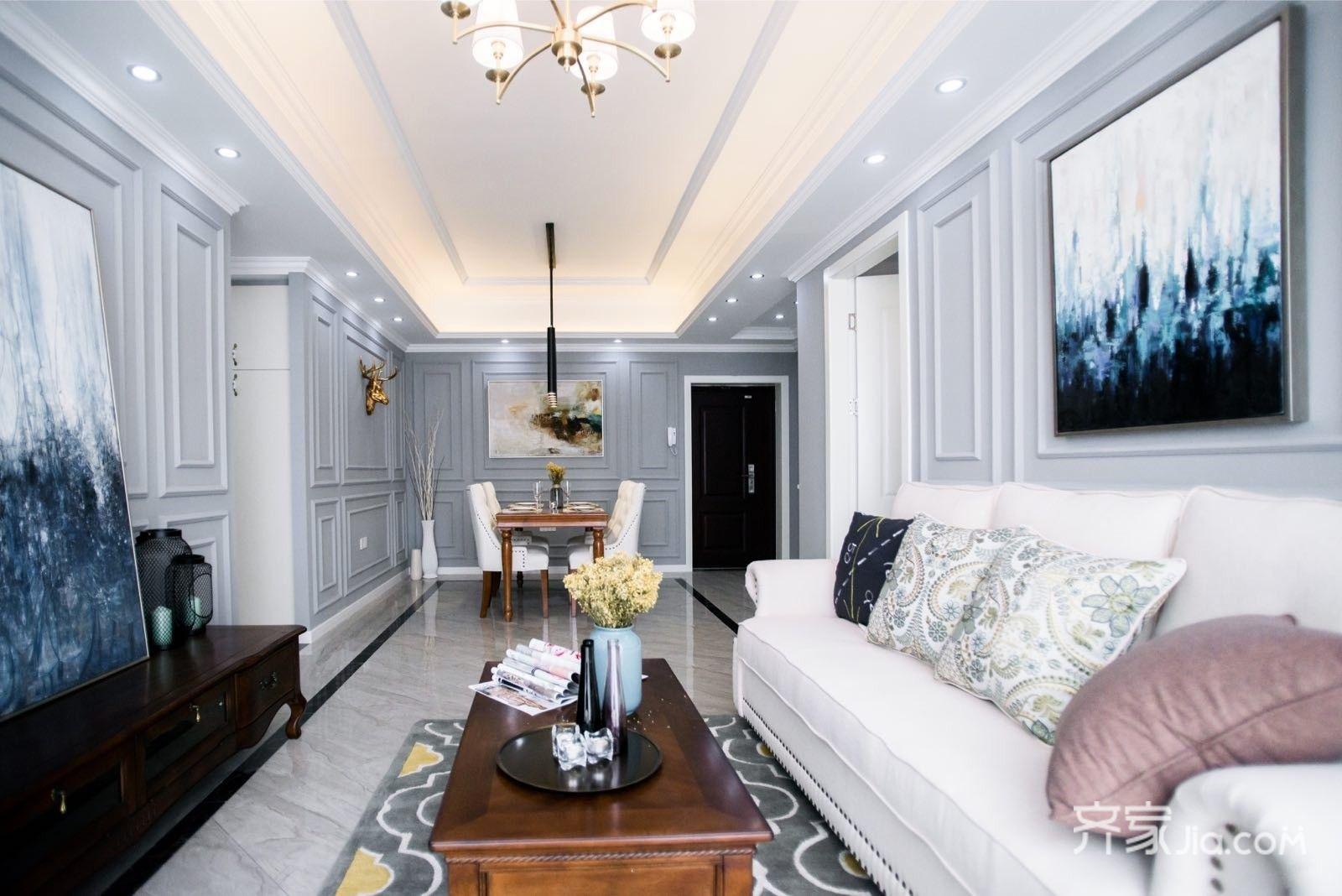 89平美式三居室装修效果图