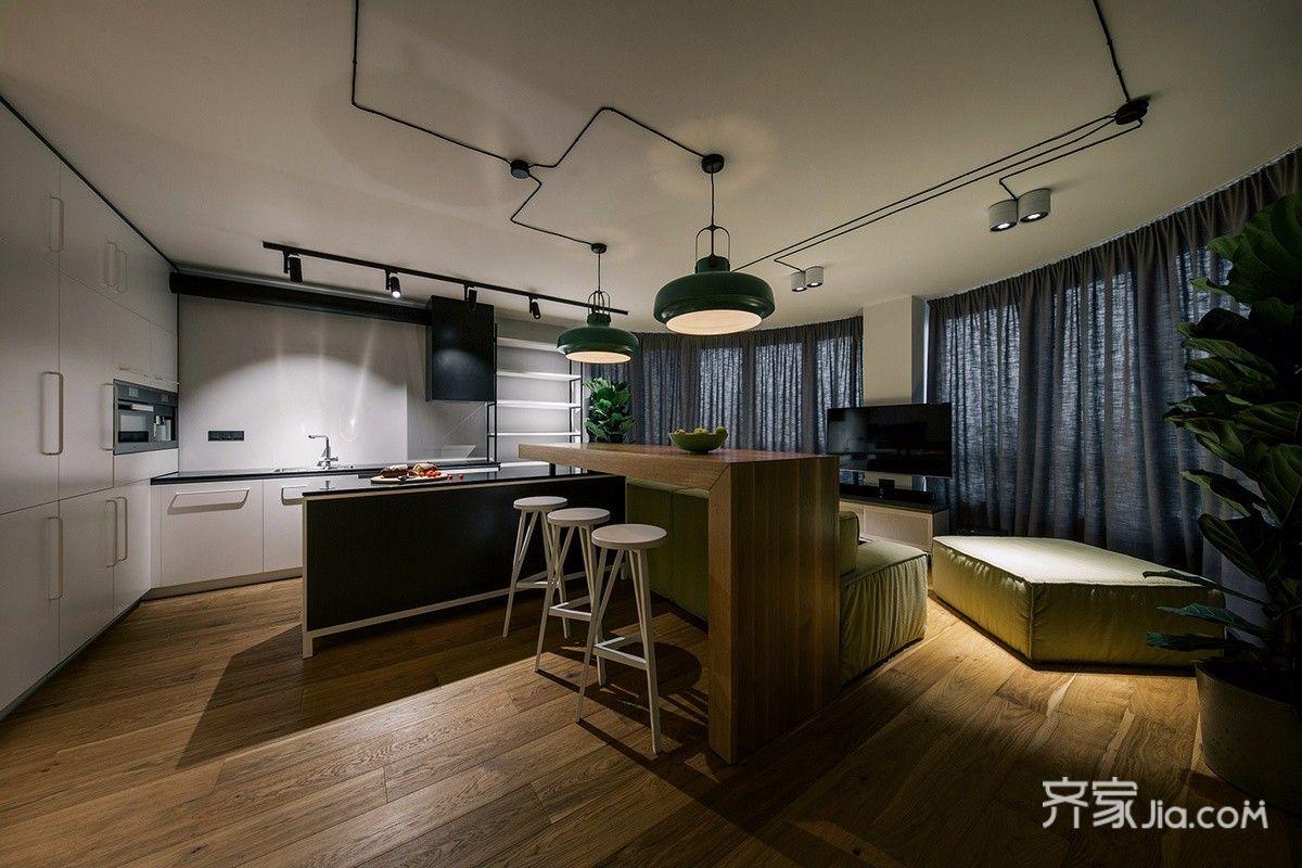 轻工业风格公寓客餐厅装修效果图