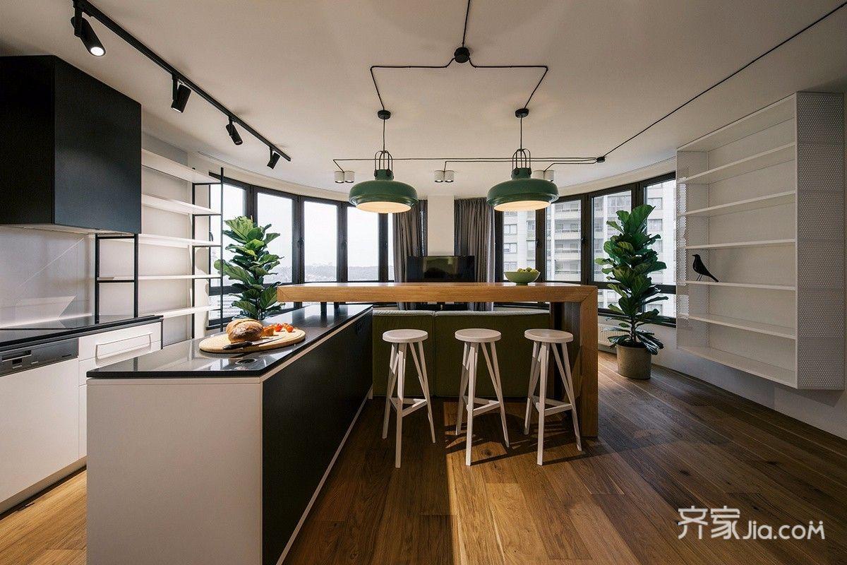 轻工业风格公寓装修吧台设计图