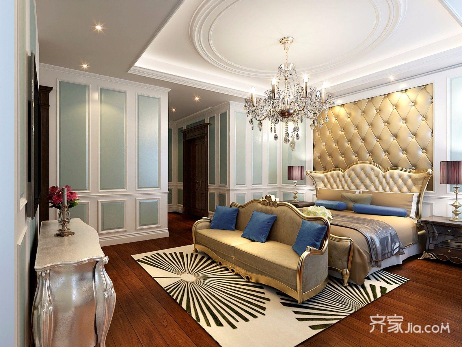 360平欧式风格别墅卧室装修效果图