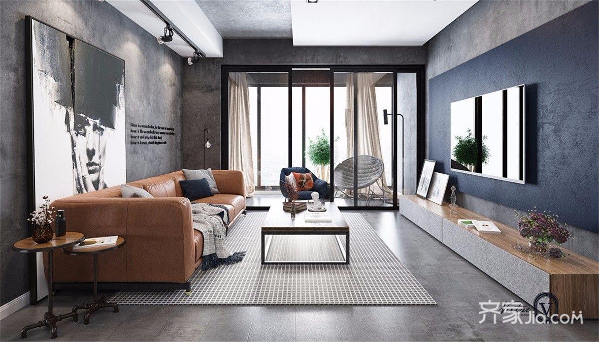 130㎡工业风格三居客厅装修效果图