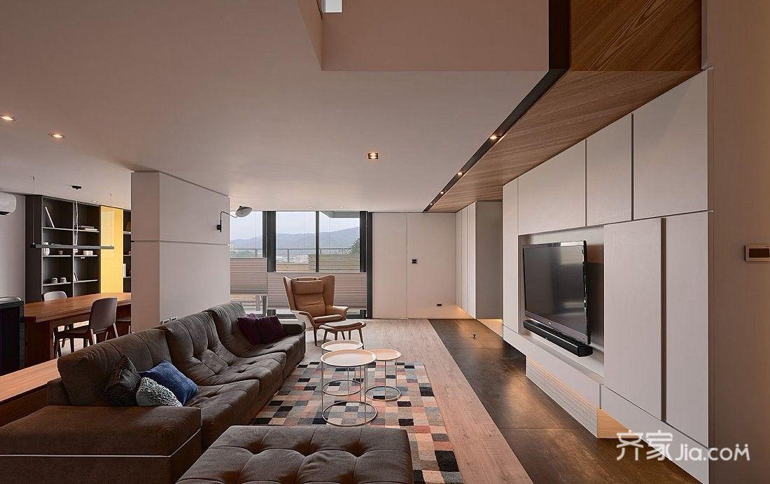 大户型现代风四居客厅装修效果图