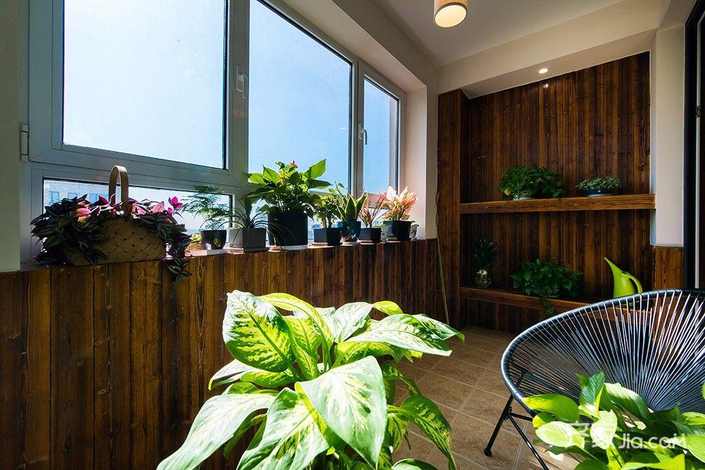 140平现代中式三居装修阳台布置图