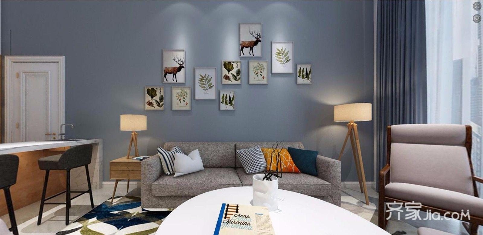 大户型北欧风格沙发背景墙装修效果图