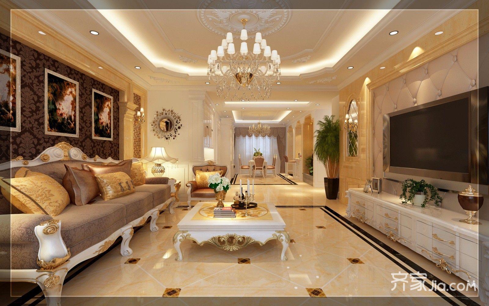 豪华欧式风格三居客厅装修效果图