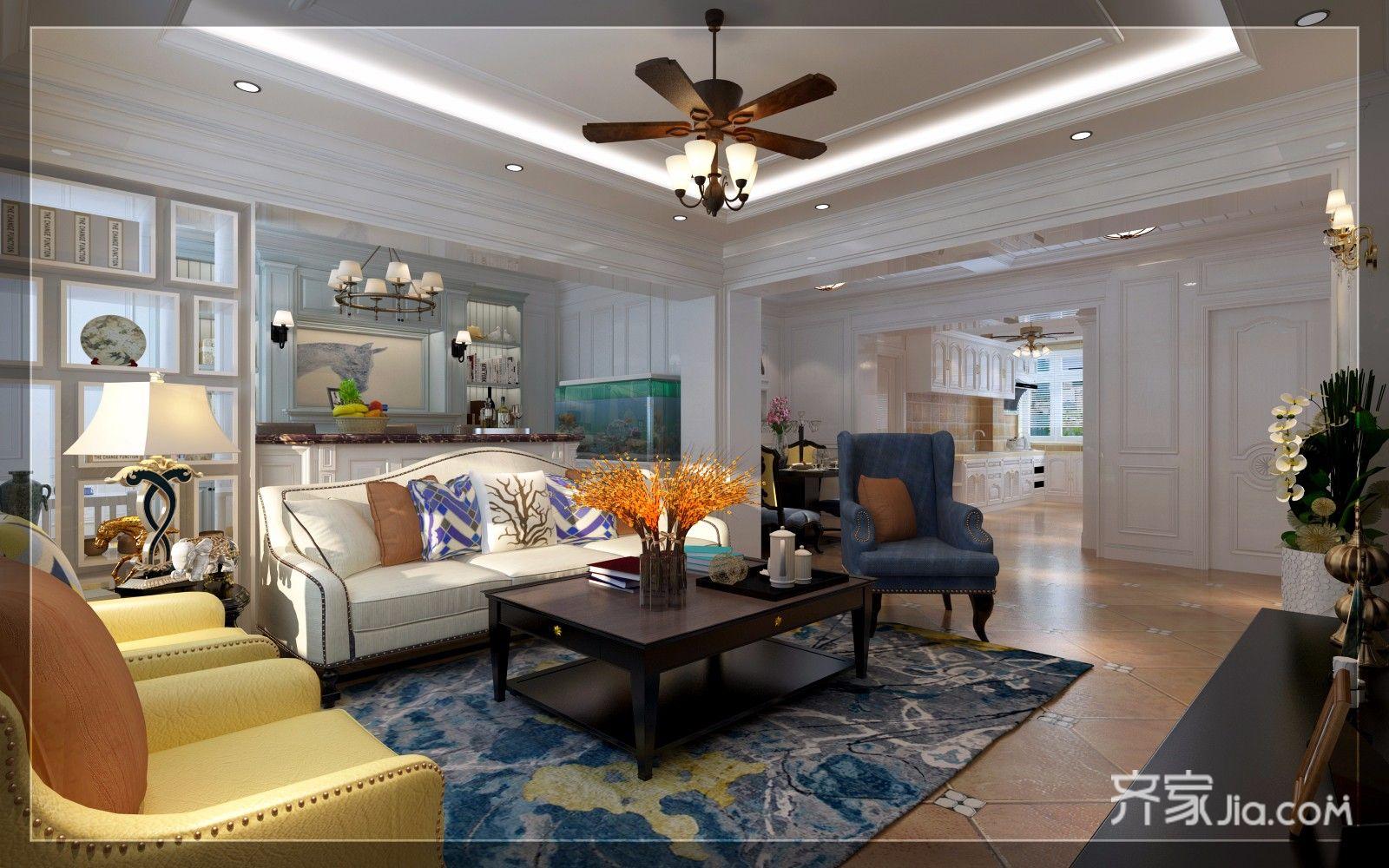 150㎡美式风格三居客厅吊顶装修效果图