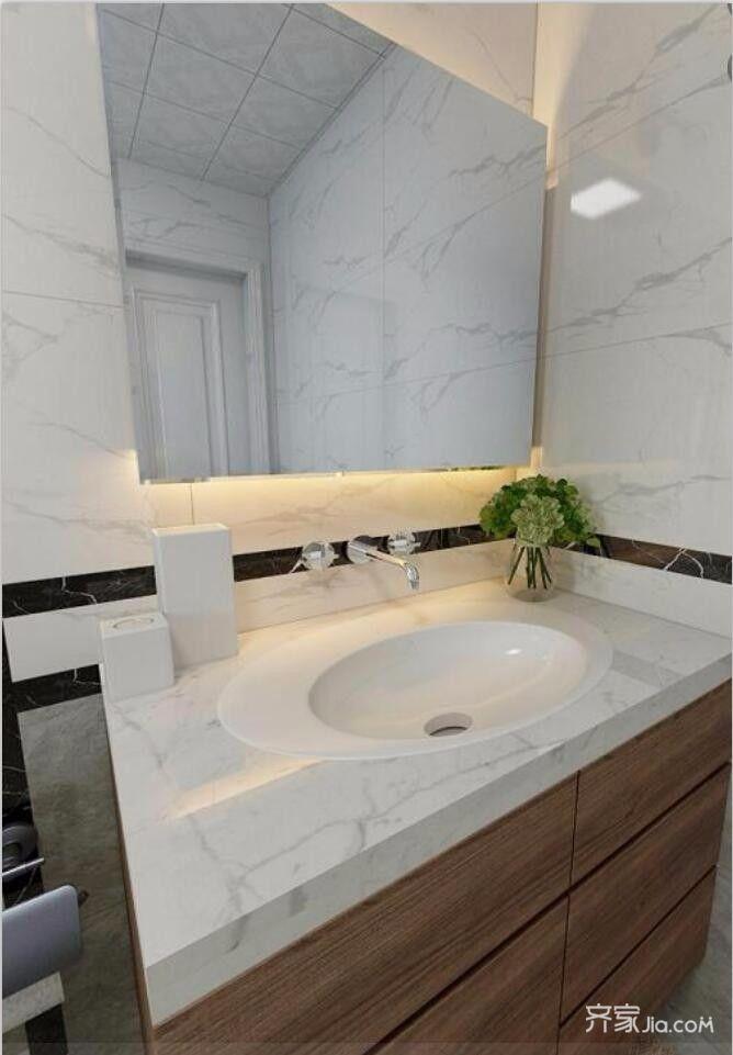 现代简约低奢三居装修洗手台设计图