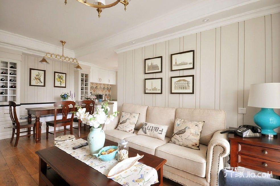 80㎡美式风格两居沙发背景墙装修效果图